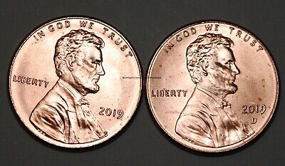 United States 2019 P+D 1 Cent Lincoln Shield Cents BU USA Pennies UNC KM# 468
