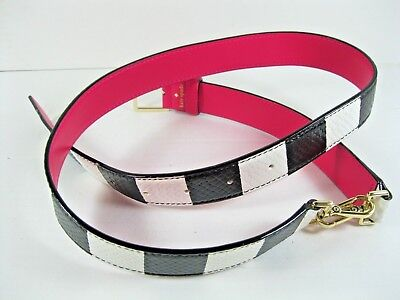 Kate Spade NY Belt Black White Stripe Reversible Pink Leather Gold Buckle NEW