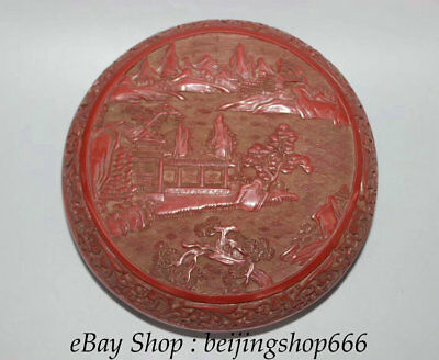 """8"""" Qianlong Marked Old China red Lacquerware Dynasty scenery Hill River Box"""