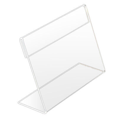 Acrylic Clear Desktop Sign Labels Display Holder Price Name Card Tag Stand Rack