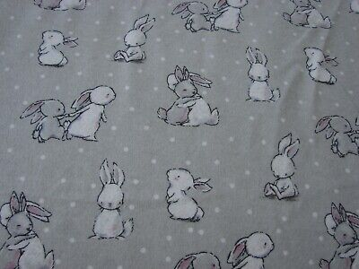 Flannelette Grey Fitted Bunny Friends Cot Sheet Handmade