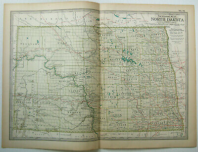 Original 1902 Map of North Dakota by The Century Company. Antique