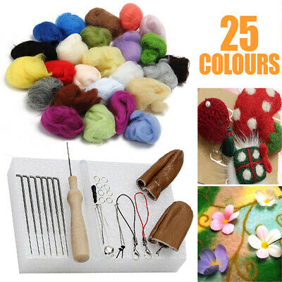 25 Colour Wool Felt Needles Tool Set + Needle Felting Mat Starter Craft DIY ~AU