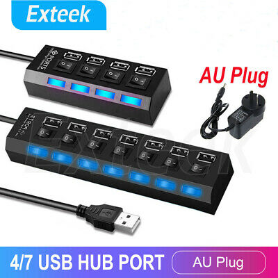 4/7 Port USB 2.0 HUB Powered + SAA AU AC Adapter Cable High Speed Desktop