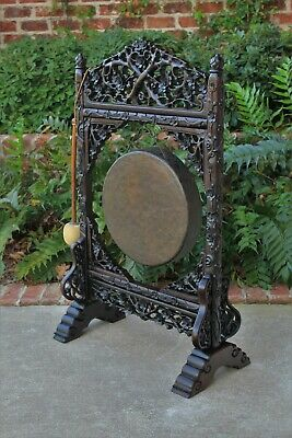Antique Carved Wood DINNER GONG Asian 19th Century w Striker Victorian Era