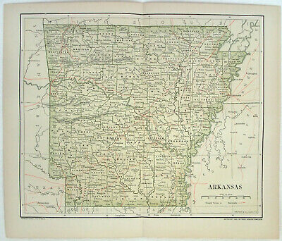 Original 1891 Dated Map of Arkansas by Dodd Mead & Company. Antique