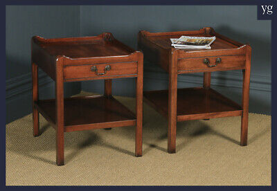 English Pair of Georgian Style Mahogany Tray Top Whatnot Bedside Lamp Tables