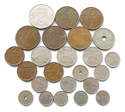 7 COINS FROM NORWAY SCANDINAVIAN CURRENCY UNC 1972-2010 1 ORE- 1 KRONE