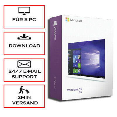 Windows 10/8.1/7 PRO/HOME/ULTIMATE 1-5 PC (32&64Bits) Versand per E-Mail