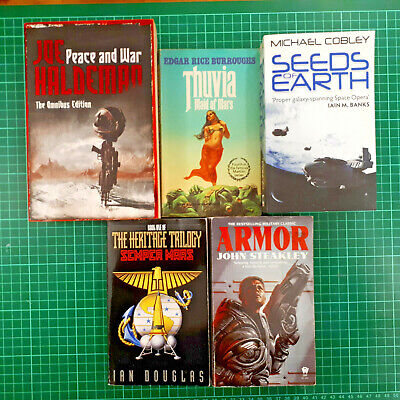 five sci-fi books science fiction peace and war thuvia seeds of earth armor
