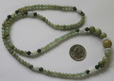 "Gemstone 100% Natural Jadeite ""Grade A"" Multi-Color JADE Beaded Necklace 27"""