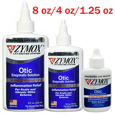 1.25-8 oz Zymox Otic Pet Ear Treatment with 1% Hydrocortisone for Dog Cat Pet