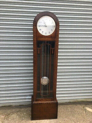 Art Deco Long Case clock with silver dial and chrome numerals