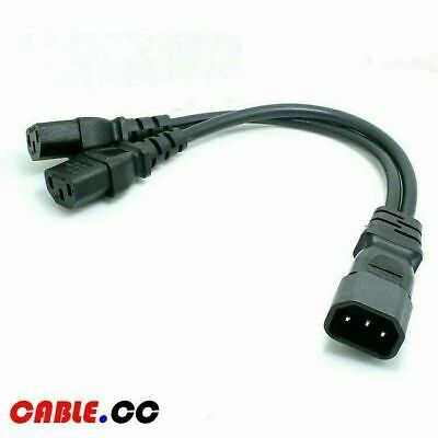 Cablecc Single C14 to Dual C13 5-13R Short Power Y Type Splitter Adapter Cable Cord