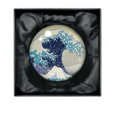 Crystal Glass The Great Wave Dome Paperweight - Artwork by Hokusai Katsushika