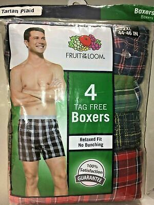 NEW 4 tag Free Boxers FRUIT OF THE LOOM SIZE 3XL Tartan Relaxed Fit
