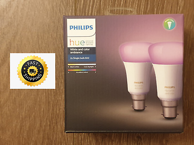 Philips Hue White & Colour Ambiance LED Bulb B22 - Twin Pack
