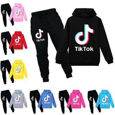 Kids Boys Girls Tik Tok Hoodie Pants Suit Long Sleeve Tracksuit Sportswear Set