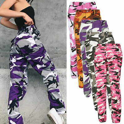 Women Hiphop Camo Pants Army Cargo Jogger Military Camouflage Harem Trousers US