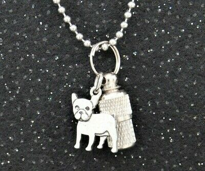 French Bulldog Ashes Holder Necklace, Frenchie Memorial, Pet Cremation Jewelry