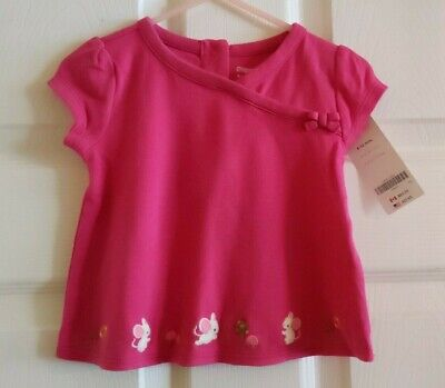 NWT Gymboree Girls Cute as a Mouse Pink Wrap Look Shirt Size 6-12 /& 12-18 M