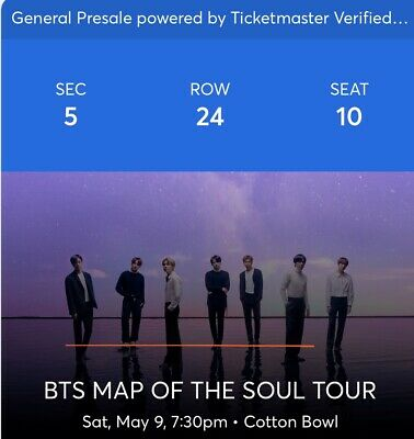 BTS Concert Tickets, May 9th, 2020. 7:30pm TICKETS ARE SELLING OUT FAST