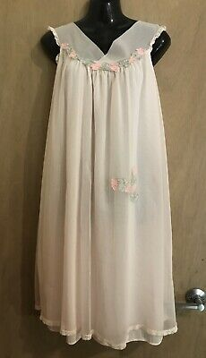 Sweet Vintage ARISTOCRAFT Pink Baby Doll Nylon Nightgown Sheer Nightie Size M