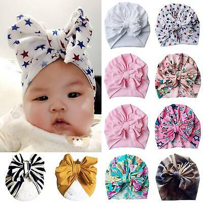 Kids Baby Girls Turban Cap Beanie Big Bow Headband India Wrap Headwear Hair Band