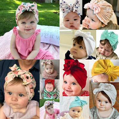 Kids Infant Baby Girls Bow Knot Turban Cap Hap Beanie Headband Hairband Headwear