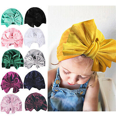 Toddler Baby Girl Hair Band Velvet Turban Big Bow Cap Beanie India Hats Headwear
