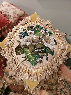 Antique Victorian  Beadwork Lilly Cushion/ Pillow