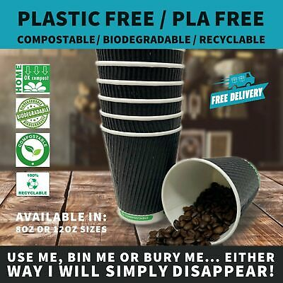 12oz Black Ripple Paper Coffee Cup |  Plastic Free & Compostable Bio Cup - 300pc