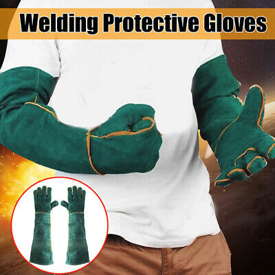 Cowhide Electric Welding Gloves Long Heat Protective Leather Gear Mittens ~AU