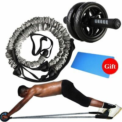 Fitness AB Roller 2 Elasticity Pull Rope Waist Abdominal Core Workout Equipment