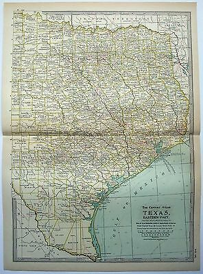 Original 1902 Map of Eastern Texas by The Century Company, Antique