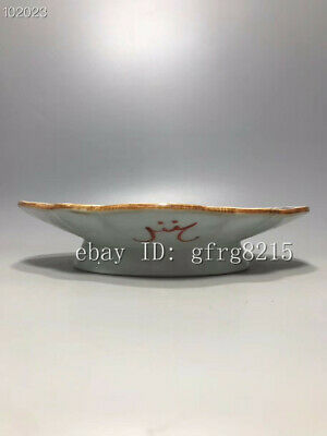 "11"" Chinese antiques porcelain Doucai Character story pattern Shaped fruit plate"