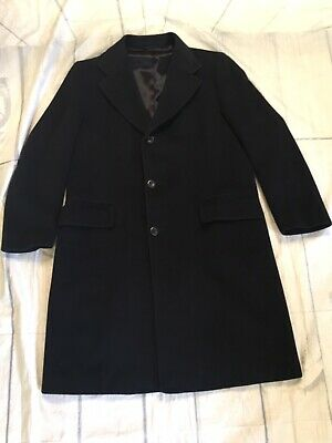 Vintage  KARAMAI Mens Black 100% Pure Cashmere Top Coat Overcoat Size Tag N/A