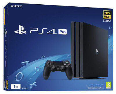 SONY PLAYSTATION 4 PS4 CONSOLE 1TB PRO GAMMA BLACK HDR Dualshock 4 V2