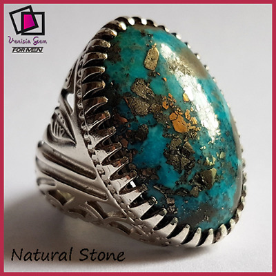 AMAZING Antique Natural Turquoise Nishapur Persian Ring 925 Silver Mens Handmade