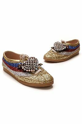 Gucci Falacer Bee Glitter Sneakers - Gold Size 39