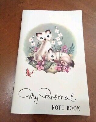 Vintage Litho Siamese Cats My Personal Note Book Flowers John Dickinson Artistic