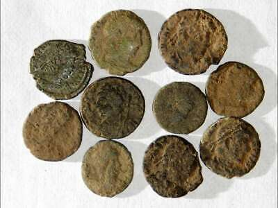 10 ANCIENT ROMAN COINS AE3 - Uncleaned and As Found! - Unique Lot 07201