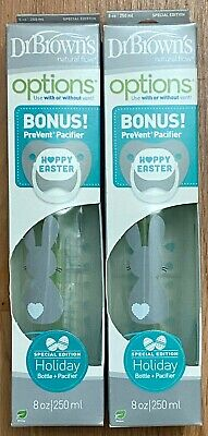 LOT OF 2 New Dr. Brown's Natural Flow Baby Bottle + Pacifier 8oz|250ml Easter