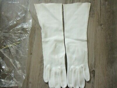 Vintage Ladies Off White  Size 6 1/2 Long Opera Gloves MADE IN ISRAEL