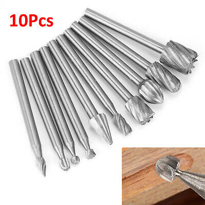 Dremel accessories- 10pcs HSS Router Grinding Burr Wood Rotary Files Set Tools