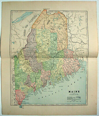 Original 1891 Map of Maine by Hunt & Eaton. Antique