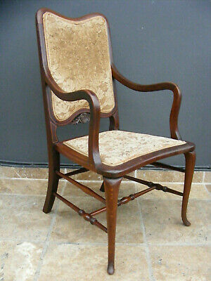 antique inlaid solid mahogany carver dining  / hallway upholstered chair