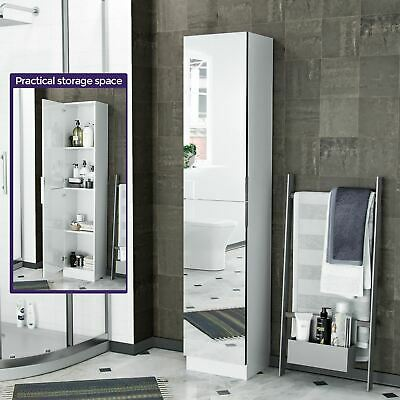 Tall Free Standing Mirrored Storage Cupboard Organiser Bathroom Furniture