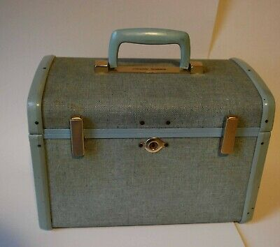 1950s Vintage Samsonite Luggage Blue Tweed Robin's Egg Sparkle Train Case 13x7x8