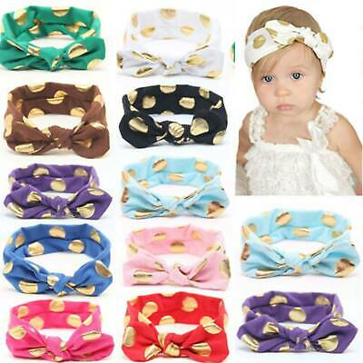 Girls Kids Baby Polka Dots Bow Hairband Headband Stretch Turban Knot Head Wrap